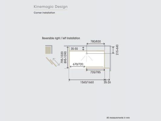 Kinedo Kinemagic Design Corner Installation Measurements