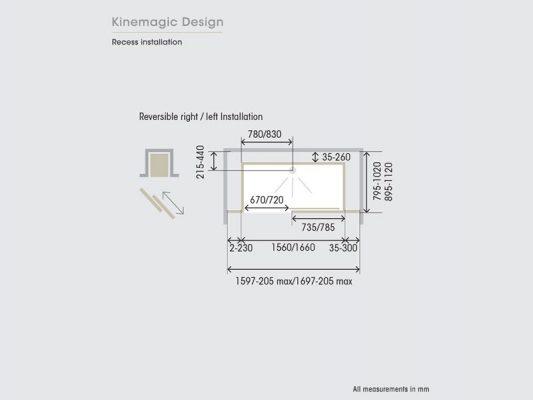Kinedo Kinemagic Design Recess Installation Measurements