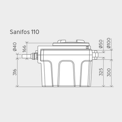 Sanifos 110 Pumping Station Dimensions Img01