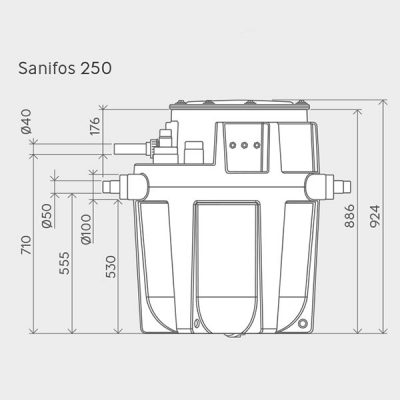 Sanifos 250 Pumping Station Dimensions Img01